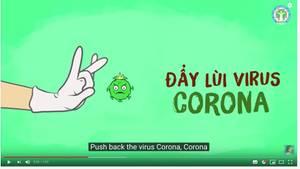 Ausschnitt aus Youtube. Eine Hand mit Handschuh schnippt den Coronavirus weg
