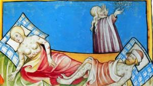 Die Pest raffte in Europa rund ein Drittel der Bevölkerung dahin. Das Bild aus derToggenburg-Bibel von 1411 könnte Pest- oder Pockenerkrankte darstellen. Ganz sicher sind sich Historiker nicht.