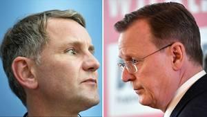 Björn Höcke (l.), AfD-Landeschef in Thüringen, und Bodo Ramelow (Die Linke), früherer Ministerpräsident des Freistaats