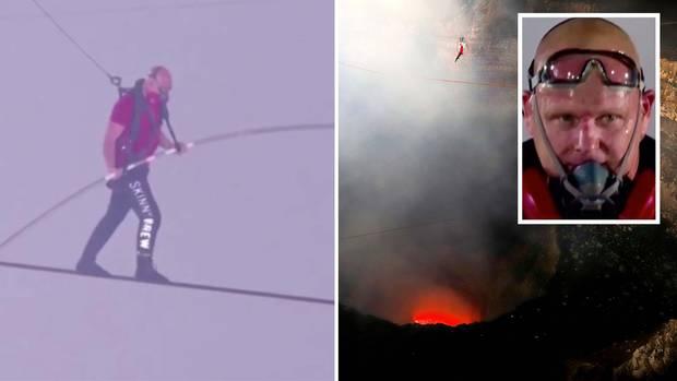 Nik Wallenda: Seiltänzer überquert glühend heißem Vulkan