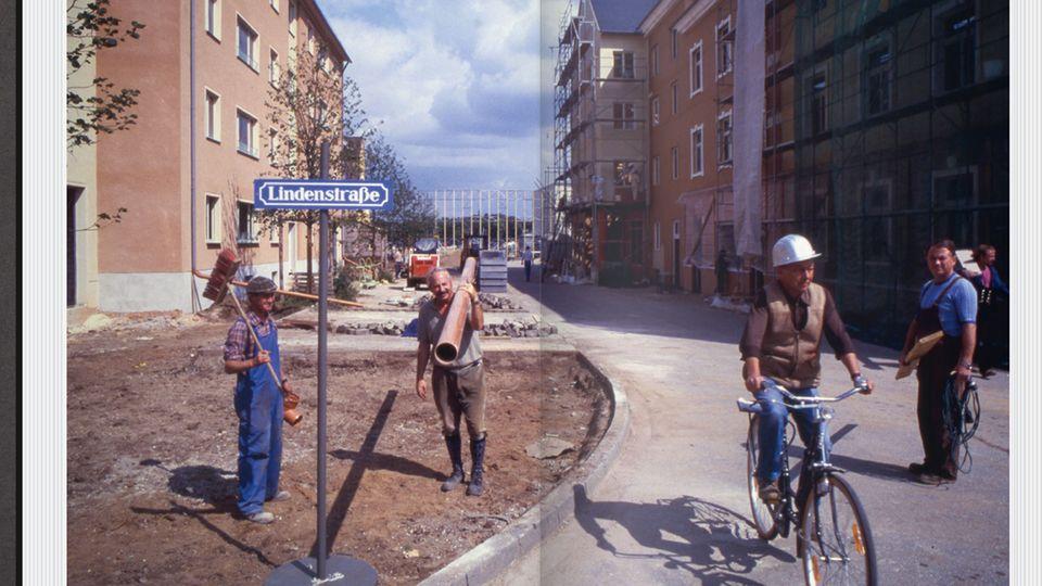 """Nur eines von insgesamt rund 400 Fotos: Die Aufnahme aus dem Jahr 1985zeigt die Bauarbeiten zur berühmten Serienkulisse """"Lindenstraße"""""""