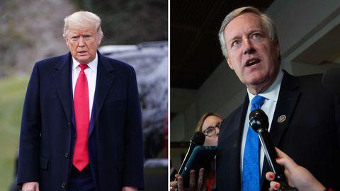 US-Präsident Donald Trump (l.) und sein neuer Stabschef Mark Meadows