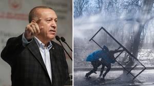 Präsident Erdogan und Flüchtlinge an der Grenze