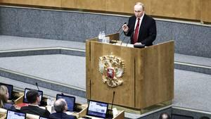 Wladimir Putinspricht vor der Abstimmung über die größte Verfassungsänderung in der Geschichte Russlandsin der Staatsduma