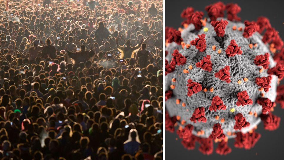 Links: Ein Konzert. Rechts: Eine Illustration des Coronavirus