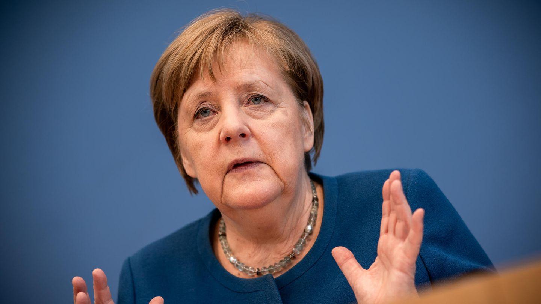 Bundeskanzlerin Angela Merkel spricht bei einer Pressekonferenz zur Entwicklung beim Coronavirus