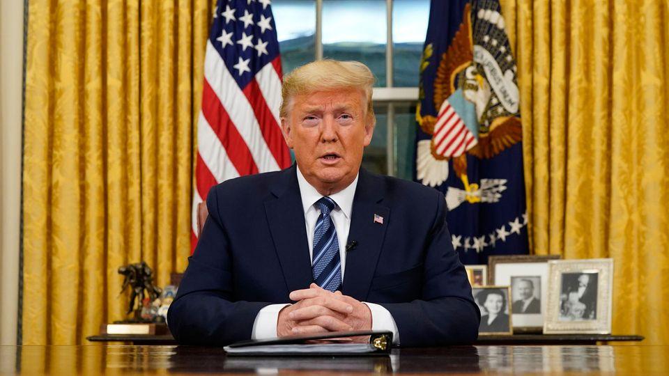 Donald Trump, Präsident der USA, hält eine Ansprache an die Nation