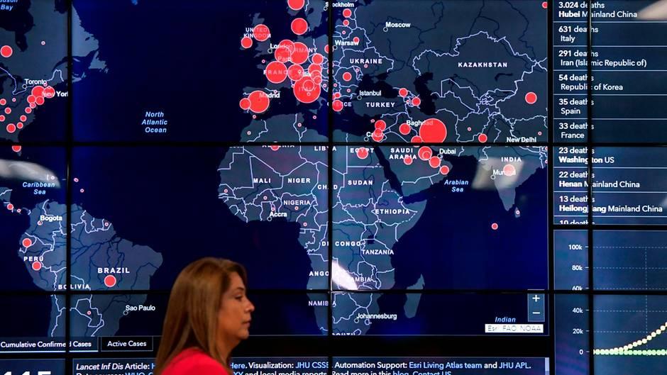 Eine Karte zeigt, wo auf der Welt das Coronavirus auftritt