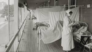 Ein Krankenlager zu Zeit der Spanischen Grippe