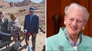 Das norwegische Königspaar Harald und Sonja bei ihrem Besuch in Jordanien (l.) und Königin Margrethe II. (r.)