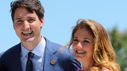 Kanadas Premierminister Justin Trudeaumit seiner Ehefrau Sophie Gregoire, die positiv auf das Coronavirus getestet wurde