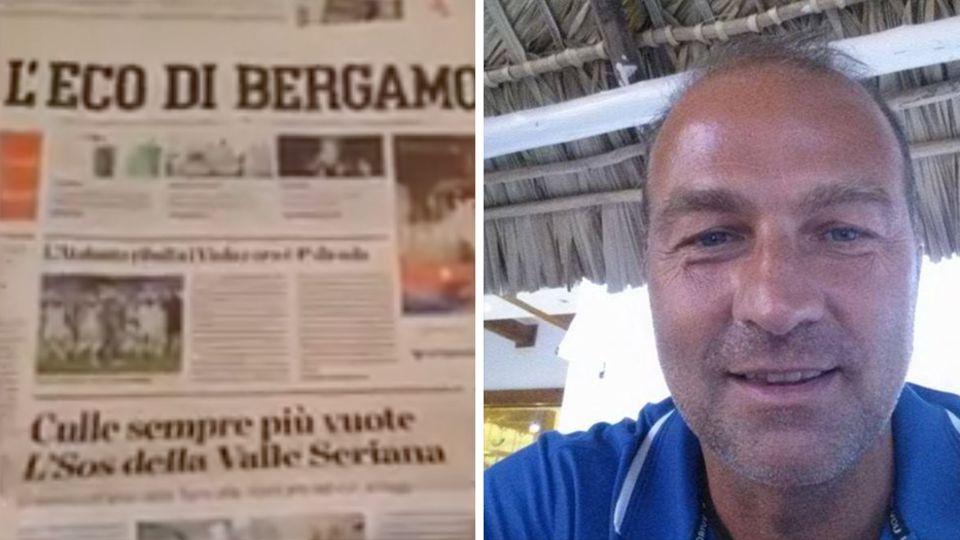 """Rechts liegt die Zeitung """"L'Eco di Bergamo"""", rechts schaut ein gebräunter Mann mit grauen Haaren und blauem T-Shirt"""