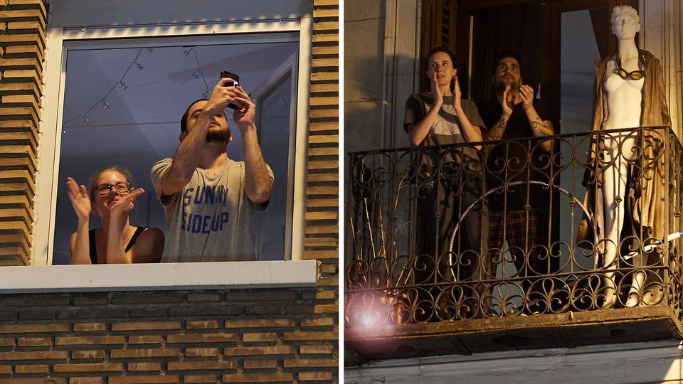 Spanier applaudieren die Ärzte, Pfleger und andere Helfer während der Corona-Krise in einer landesweiten Aktion.