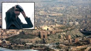 Syrische Stadt Aleppo, Frau mit VR-Brille