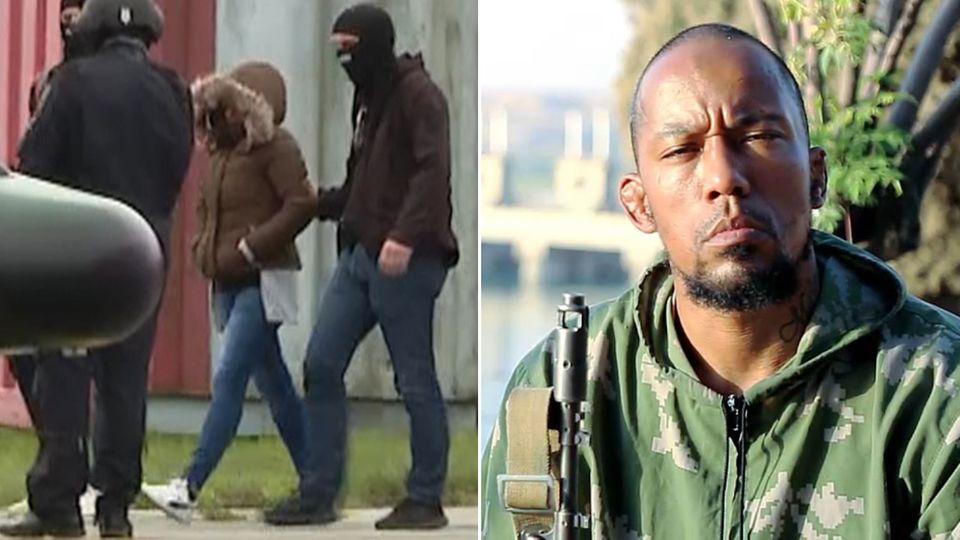 Omaima A, (l.) die Witwe des deutschen IS-Terroristen Denis Cuspert (r.) bei ihrer Festnahme im September 2019