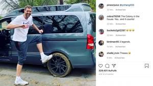 Dirk Nowitzki bleibt im Schlamm stecken – und bekommt prominente Hilfe