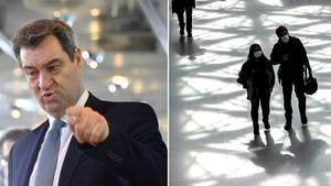 Bayerns Ministerpräsident Söder und Reisende am Flughafen Tegel