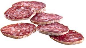Italienische Salami in Scheiben geschnitten