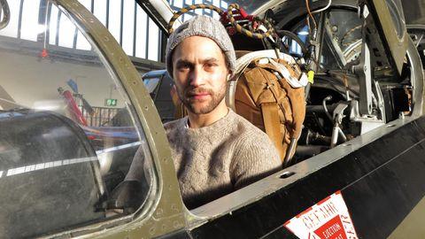 Ludwig Trepte im Cockpit einer Fiat G91 Gina