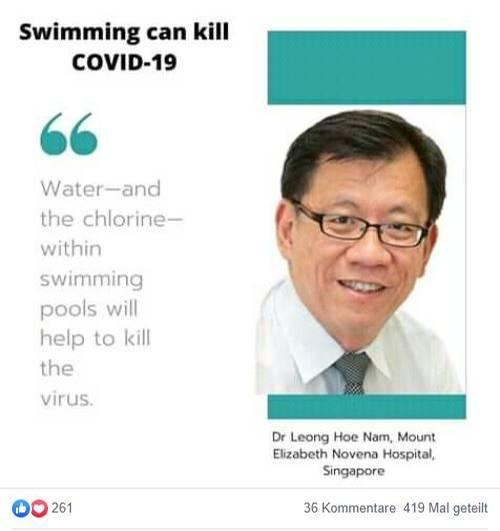 coronavirus fake: swimming