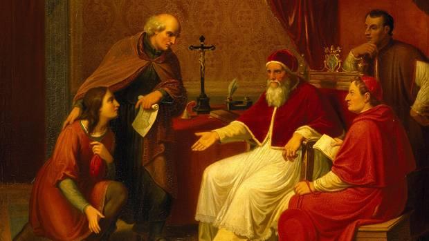 Donato Bramanti stellt Papst Julius II. Raffael vor
