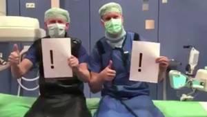 """Viele Angestellte von Krankenhäusern und Kliniken protestieren kreativ für """"soziale Distanz"""""""