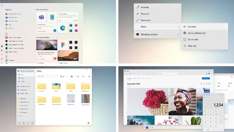Windows 10 wirkt durch das neue Design leichter. Oben links ist das neue Startmenü, unten links der neue Dateiexplorer zu sehen. Der moderne Look zieht sich auch durch andere Programme wie die Foto-App und den Rechner (beide oben rechts) und das Kontext-Menü (unten rechts)