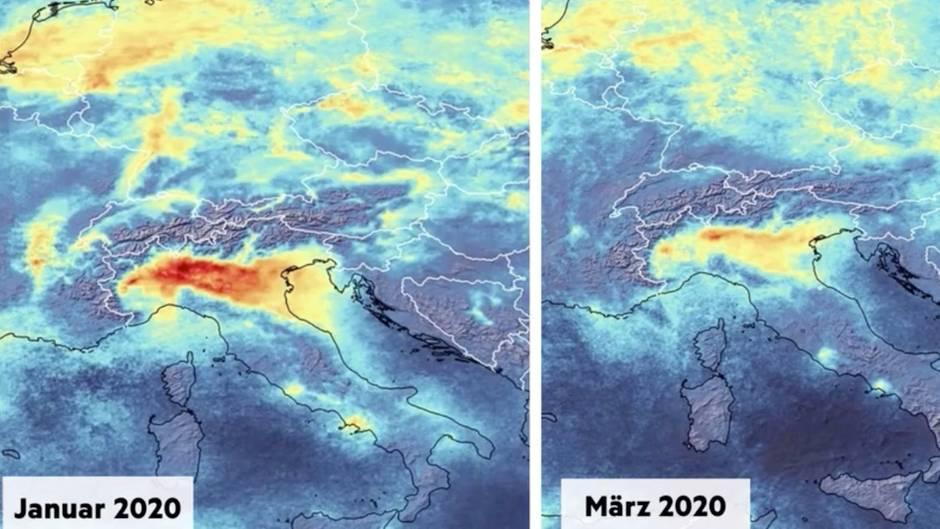 ESA-Bilder zeigen: Drastische Auswirkung des Coronavirus: Luftverschmutzung über Italien geht zurück