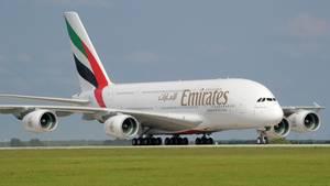 Mit dem Airbus A380 flog Emirates von Dubai nach Frankfurt, München, Hamburg und Düsseldorf.