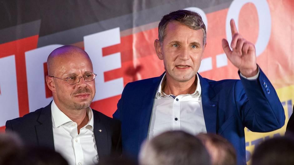 Andreas Kalbitz und Björn Höcke vom AfD-Flügel