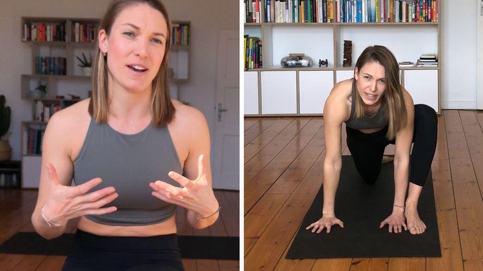 Fitnesstrainerin Freya Greskowiak zeigt Warm-up-Übungen fürs Fitness trotz Home-Office.