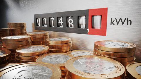 Strom-Zählerstand, Stapel 1-Euro-Münzen