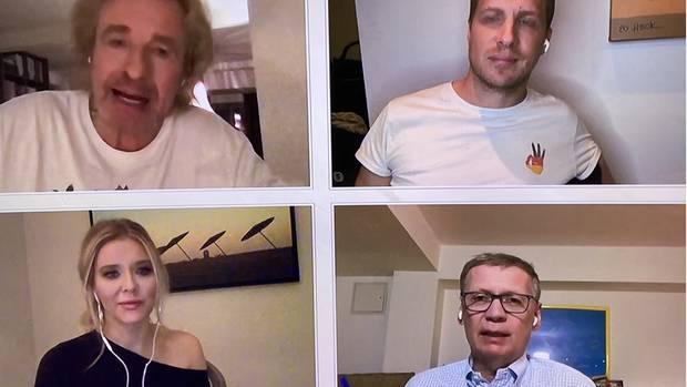 """Fernsehen im Jahr 2020: Thomas Gottschalk, Oliver Pocher, Laura Karasek und Günther Jauch unterhalten sich in der """"Quarantäne WG"""" via Skype."""