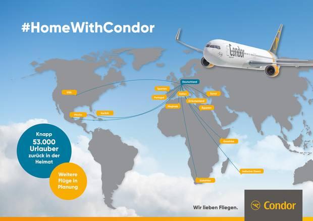"""Neben Lufthansa fliegen auch Jets der Condor Urlauber zurück nach Deutschland. Es handelt sich um die größte Rückholaktion in der Geschichte der Bundesrepublik Deutschland. """"Wir werden auch in dieser Woche viele Sonderflüge auflegen und mit den Destinationen Seattle, Palma de Mallorca, Teneriffa, Gran Canaria und Jerez de la Frontera einen eigenen, regulären Ersatzflugplan aufrechterhalten, der eine infrastrukturelle Grundversorgung sicherstellt"""", sagtRalf Teckentrup, der Chef von Condor."""