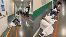 Coronavirus in Madrid: Mehrere Patienten liegen auf dem Boden im spanischen Krankenhaus