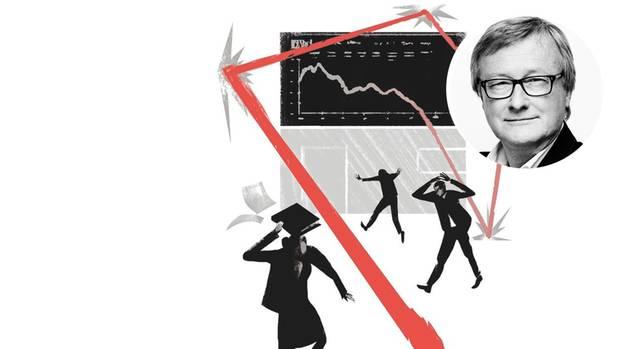 Illustration: fallende Aktienkurse bringen Banker zur Verzweiflung
