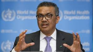 WHO-ChefTedros Adhanom Ghebreyesus spricht in Genf über die Corona-Pandemie