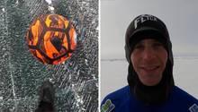 Links ist ein oranger Ball über einer Eisfläche zu sehen, rechts ein lächelnder Mann in einem blauen Thermoanzug mit Kapuze