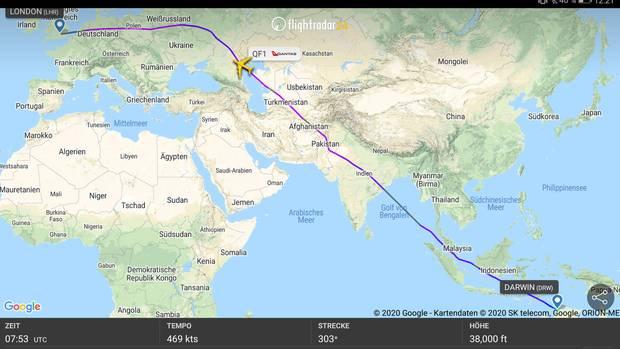 Der Flug QF1 legte die Strecke von Darwin nach London-Heathrow in den letzten Tagen nonstop in knapp 17 Stunden zurück.