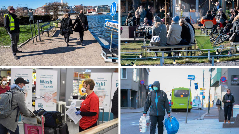 Von links oben nach rechts unten:Ein Parkbeamter überwacht den Fußgängerverkehr in Kopenhagen, Menschen genießen die Sonne in Stockholm, eineKrankenschwester informiert Passagiere am Flughafen Helsinki, ein Mann geht in den leeren Straßen Oslos einkaufen