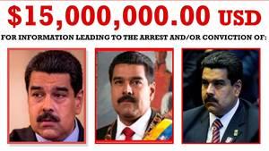 Fahndungsposter für Nicolas Maduro, Präsident von Venezuela