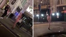 London: Eine Frau nutzt die Leere wegen der aktuellen Coronavirus-Lage für ein pikantes Fotoshooting