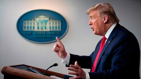 US-Präsident Donald Trump spricht im Weißen Haus über die Coronakrise