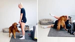 Hund macht Sportlerin das Training schwer