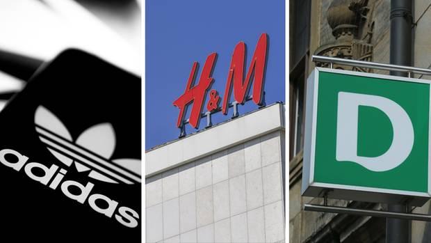 Die Logos der Konzerne Adidas, H&M und Deichmann (von links nach rechts)