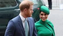 Prinz Harry und Meghankommen am Commonwealth-Tagin Westminster Abbey an