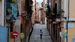 Die ziemlich menschenleere Innenstadt von Palma de Mallorca