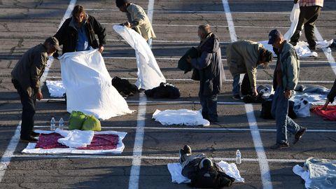 Obdachlose auf Parkplatz in Las Vegas