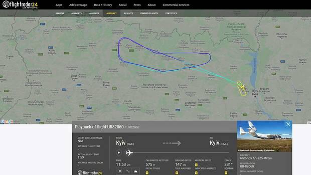 Die Antonow An-225 mit der Kennung UR-82060 hat am 25. und 27. März zwei Testflüge in der Nähe von Kiew absolviert.