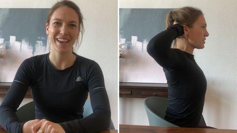 Fitnesstrainierin Freya Greskowiak zeigt Übungen für Schulter, Nacken und Rücken